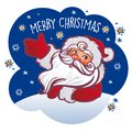 Vector vintage Christmas greeting card with cartoon Santa Claus.