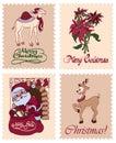 Vector Vintage Christmas Stamps Raindeer Santa