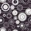 Vector vintage clock dial seamless pattern