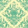 Vector vintage damask seamless pattern element. Royalty Free Stock Photo