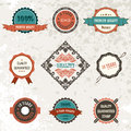Vector vintage decor elements ribbon stamps Royalty Free Stock Photo
