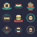Vector vintage fast food logos set. Burgers, hot dogs, sandwiches illustrations. Snack bar, street restaurant icons.
