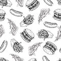 Vector vintage fast food seamless pattern. Hand drawn monochrome