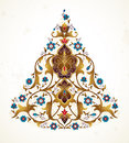 Vector vintage floral decor in Eastern style. Royalty Free Stock Photo