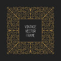 Vector vintage floral frame on black background in mono thin line style Royalty Free Stock Photo