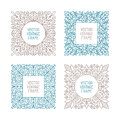 Vector vintage floral frame set for your text, monogram or pictogram in mono line style Royalty Free Stock Photo