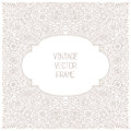 Vector vintage floral frame on white background in mono thin line style Royalty Free Stock Photo
