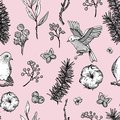 Vector vintage floral spring seamless pattern with birds, fir branches, cotton, flowers and butterflies