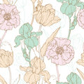 Vector Vintage Flowers Pastel Seamless Repeat Pattern With Tulips, Poppies, Iris In Classic Retro Style Textile Design