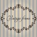 Vector vintage frame. Flower ornament color.