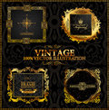Vector vintage. Gold frames calligraphic Stock Photos