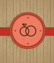 Vector vintage greeting card with wedding rings Stock Images