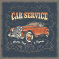 Vector vintage illustration, poster with of red retro car