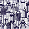 Vector vintage lantern seamless pattern. Classic antique light. Ancient retro lamp design. Traditional silhouette. Old Royalty Free Stock Photo