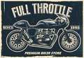 Vintage motorcycle poster, texture is easy to remove
