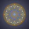 Vector vintage oriental Mandala sign gold frame