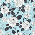 Vector vintage pastel blue, black, and white roses and leaves seamless repeat pattern. Great for retro fabric, wallpaper
