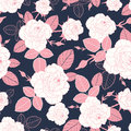 Vector vintage pink and white roses and leaves on dark, navy background seamless repeat pattern. Great for retro fabric
