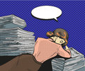 Vector vintage pop art illustration of tired businesswoman Royalty Free Stock Photo
