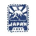 Vector vintage postage japan mail stamp.