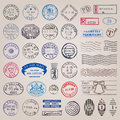 Vector Vintage Postage Stamps Royalty Free Stock Photo