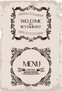 Vector vintage restaurant retro frame paper Stock Photo