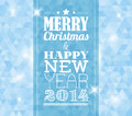 Vector vintage retro christmas card on blue background label Stock Image