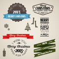 Vector Vintage retro christmas elements Stock Photos