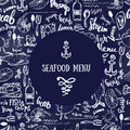 Vector vintage seafood menu design. Hand seafood menu banner. Great for seafood menu flyer, card, seafood menu business Royalty Free Stock Photo