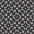 Vector vintage seamless black and white floral pattern. Surface, textile.