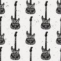 Vector vintage seamless pattern with guitar, diamond, bones