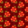 Vector vintage seamless pattern with red flowers and dark brown background Royalty Free Stock Image
