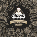 Vector vintage sketch fast food illustration. design template menu covers for restaurant or cafe