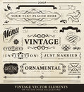 Vector vintage style elements ornamental for briefcard or menu or other prints Royalty Free Stock Photo