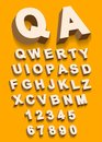 Vector of Vintage type alphabet with 3d threedimentional effect