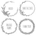 Vector vintage wreaths. Collection of trendy cute