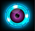 Vector violet eyeball future technology on blue background.
