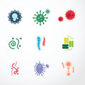 Vector virus colour design icons.