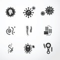Vector virus icons black colour icon Royalty Free Stock Photos