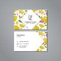 Vector visit card template with pattern carambola and flower