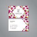 Vector visit card template with pattern mangosteen and flower