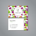 Vector visit card template with pattern passionfruit and flower