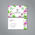 Vector visit card template with pattern pitaya and flower