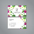 Vector visit card template with pattern sugar-apple and flower