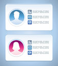 Vector visit card templates template with man and woman profiles Royalty Free Stock Images
