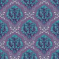Vector volumetric damask seamless pattern background. Elegant luxury embossed texture for wallpapers, backgrounds and Royalty Free Stock Photo