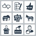 Vector voting and politics icons set Royalty Free Stock Images