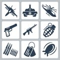 Vector war icons set Royalty Free Stock Photos