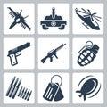 Vektor vojna ikony sada