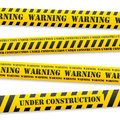 Vector warning tapes set of yellow with black sign Stock Photography